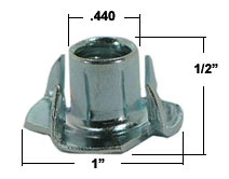 Picture of T-nut (4-Prong Zinc) Case Quantity