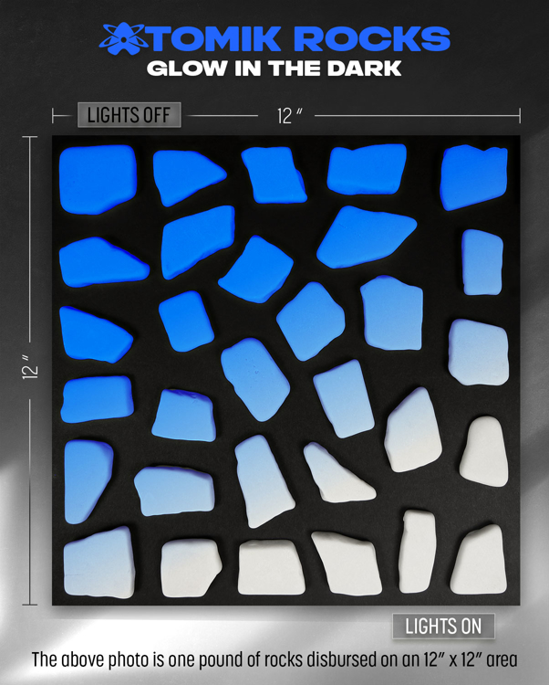 Picture of BLUE Glow in the Dark FLAT ANGLED Landscape Rocks