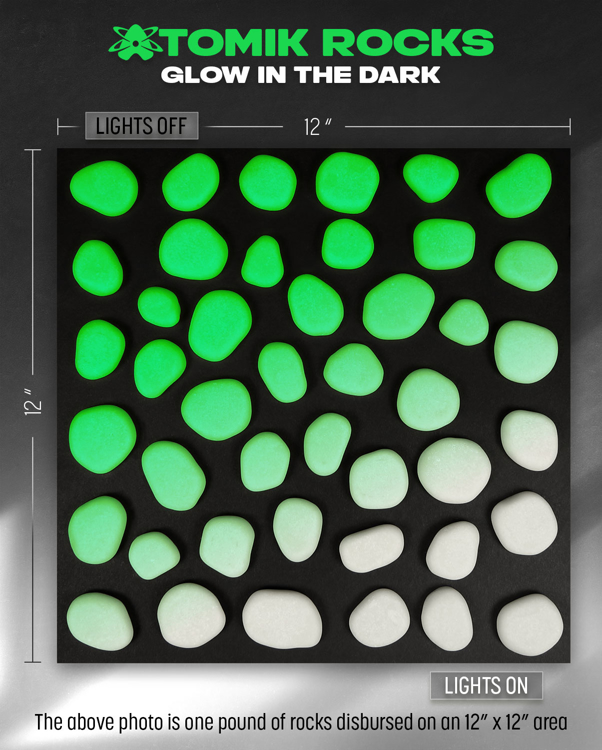 Picture of GREEN Glow in the Dark FLAT ROUND Landscape Rocks