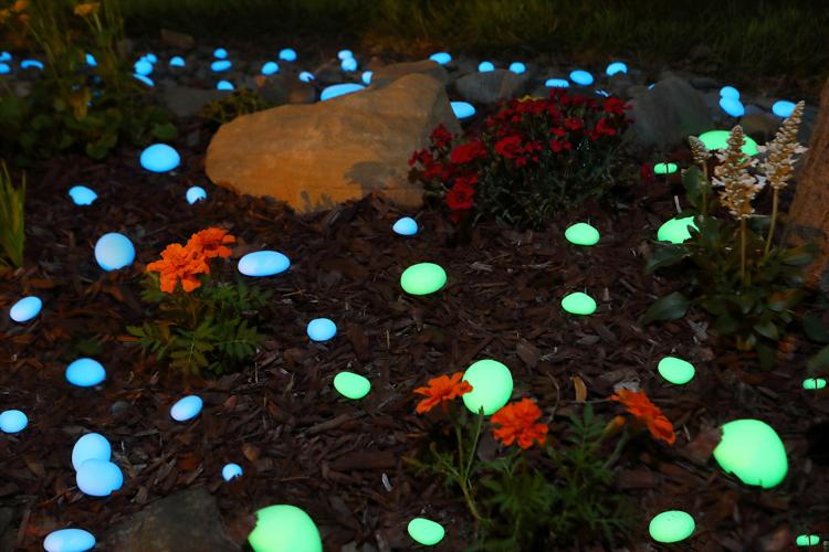 Picture of BLUE Glow in the Dark FLAT ROUND Landscape Rocks